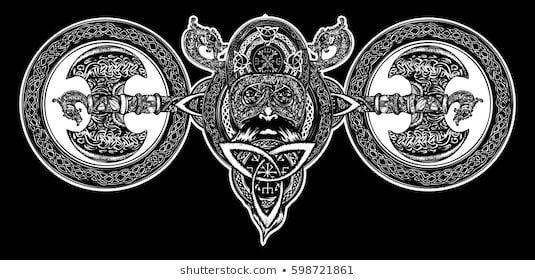 Viking tattoo, Celtic style. North warrior head t-shirt ...