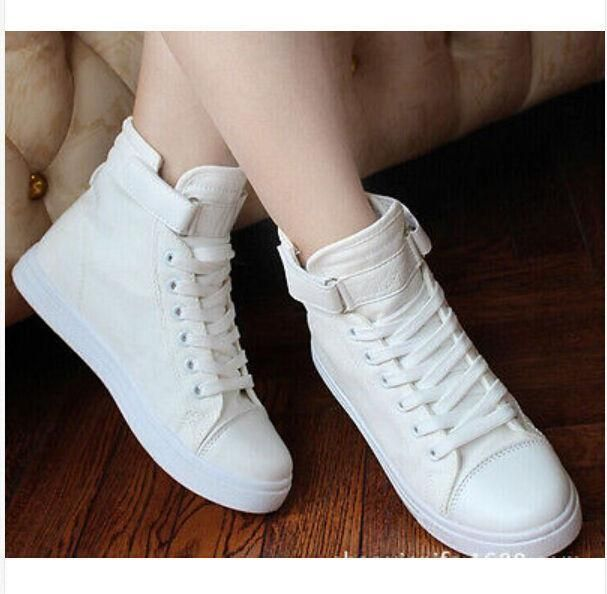 Hot Womens Canvas Strappy Casual High Top Sneakers Leisure Sports Running Shoes