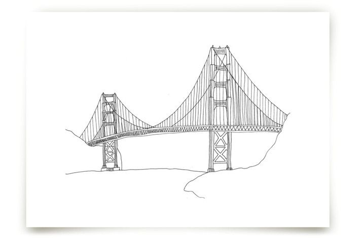 The Golden Gate in Pen by Sharon Rowan at minted.com