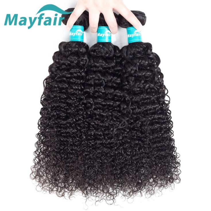 Mayfair Malaysian Curly Hair Weave Human Hair Bundles Natural Color Remy Hair Extension 3 Lots Machine Double Weft