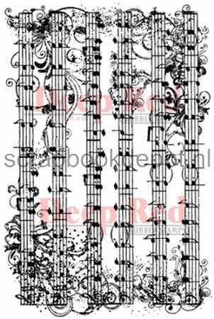 Music Flourish Deep Red Cling Rubber Stamp