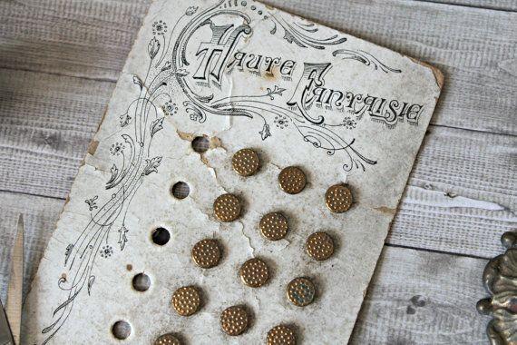 Frans antiek gouden knoppen kaart metaal door TheGreenMoonVintage