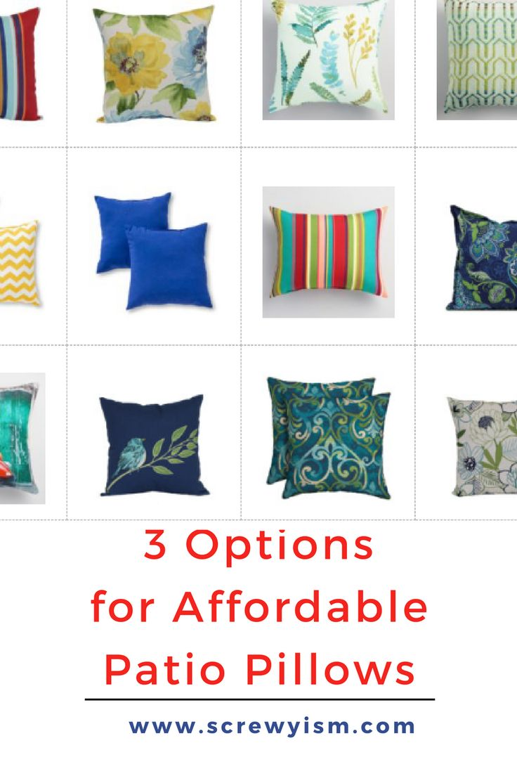 3 Options for Beautiful Patio Pillows and Cushions. A collection of beautiful and affordable patio pillows and cushions to add style to your patio.