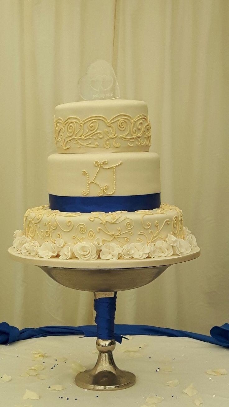 Ivory & Royal Blue Wedding Cake