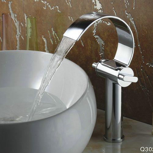 conception sp ciale chrome cascade haute curve bec lavabo. Black Bedroom Furniture Sets. Home Design Ideas
