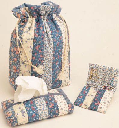 Free pattern - Quick gifts to make from strip piecing - drawstring bag, glasses case, tissue case.