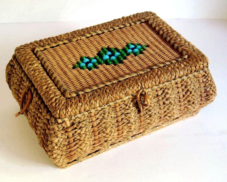 Vintage Sewing Basket Wicker Box Victorian German Antique