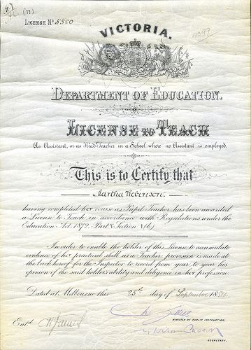Teaching License No. 5580, Martha Robinson  This license issued by the Victorian Education Department to Martha Robinson on 25 September 1884, entitled her to teach as an assistant or as a head teacher in a school where no assistant was employed.