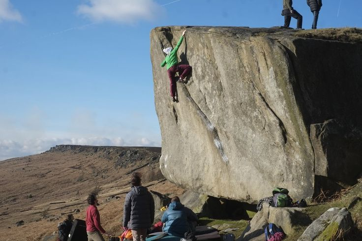 Robert Gill #MEclimbing Mischa Hawker-Yates Climbing the gritstone classic, Not to be Taken Away at Stanage Plantation.