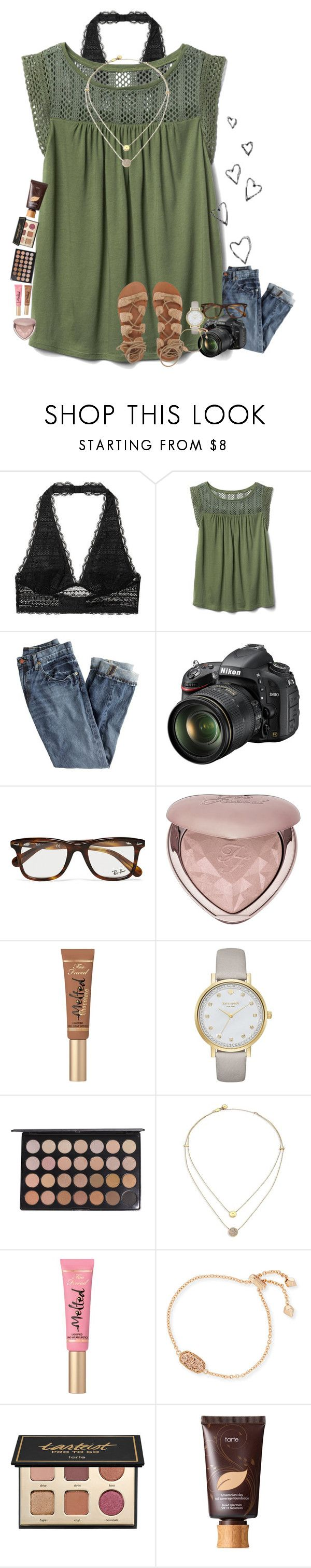 """""""Be confident"""" by amaya-leigh ❤ liked on Polyvore featuring Victoria's Secret, Gap, J.Crew, Brinley Co, Nikon, Ray-Ban, Too Faced Cosmetics, Kate Spade, Michael Kors and Kendra Scott"""