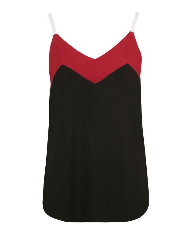 Colourblock Knit Tank, Black/Red/White