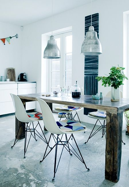 natural wood desk w/ modern chair