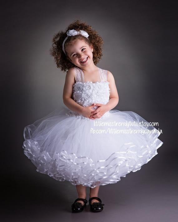 5cbeda803377 White Flower Girl Tutu Dress