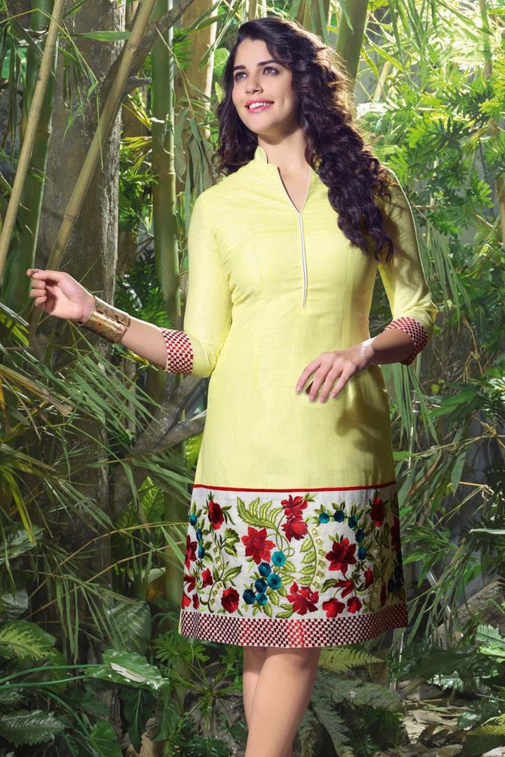 Yellow Linen Embroidered Kurti