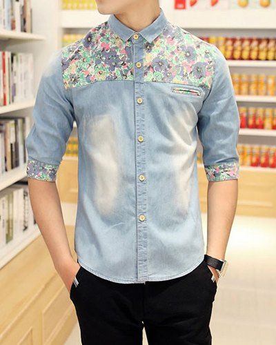 $13.36 Summer Style Turn- down Splicing Floral Print Men's Half Sleeves Cotton Shirt