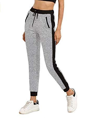 621f220030 SUNNYME Womens Joggers Drawstring Tracksuit Bottoms Sweatpants Sport Pants  Ladies Gym Trousers UK Size 8 10 12 14 16 18 (L, Light Grey)