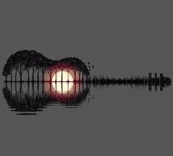 Una imagen brillante. Fijándose se ve que el reflejo del paisaje fotografiado junto con el mismo paisaje conforman la forma de una guitarra. Asombroso!!