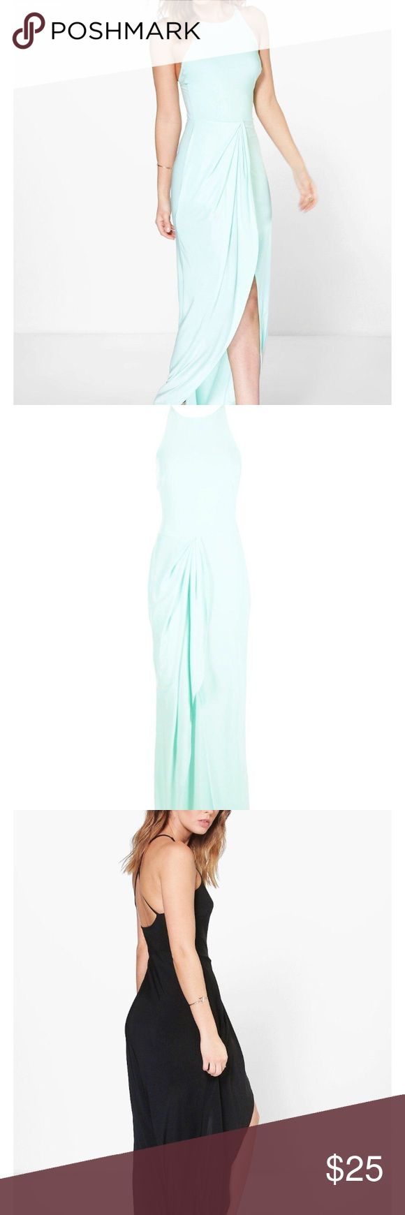 NWT Cross Back Mint Maxi Dress Super cute brand new with tags.  Stock photos are from brand's website to show fit not color.  The color is mint.  Make me an offer! Boohoo Dresses Maxi