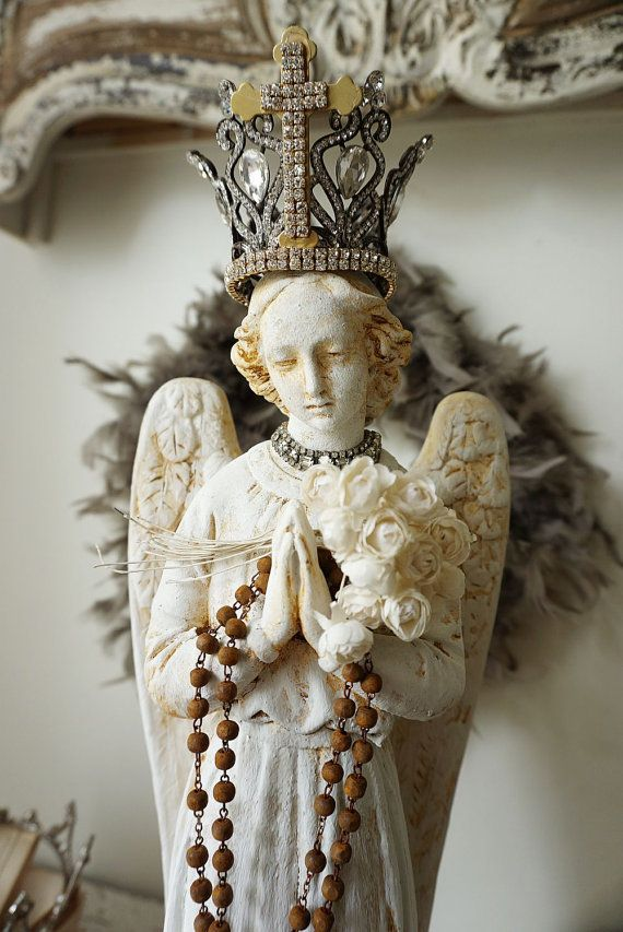 Wonderful Angel Statue French Nordic White Distressed Winged Angelic Figure Rusty  Handmade Crown Rusted Rosary Shabby Cottage Chic Anita Spero Design