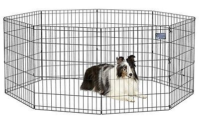 Folding Exercise Pet Playpen Portable Kennel Dog Fence Puppy 30h Outdoor Travel