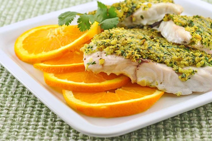 Baked Grouper with Citrus-Cilantro Crumb Topping: An easy recipe for baked fish topped with a buttery crumb topping flavored with orange, lemon and lime zest and fresh cilantro.