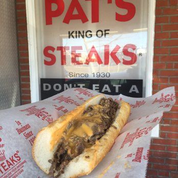 Photo of Pat's King of Steaks - Philadelphia, PA, United States. Pat's cheesesteak with Cheese Wiz.