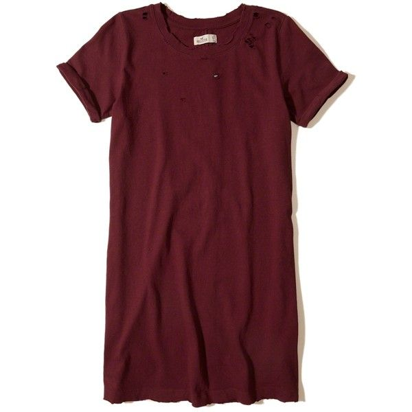 Hollister Distressed T-Shirt Dress ($20) ❤ liked on Polyvore featuring dresses, red, knit dress, crew neck t shirt dress, t-shirt dresses, t shirt dress and tee shirt dress