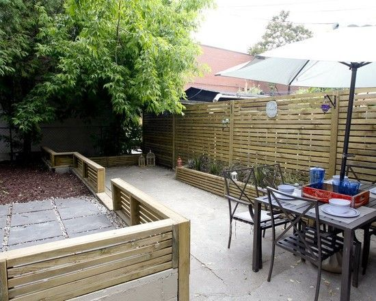 Exterior Design, Excellent Contemporary Patio Design With Wooden Modern Fence Design Also Concrete Floor Also Contemporary Outdoor Dining Set And White ...