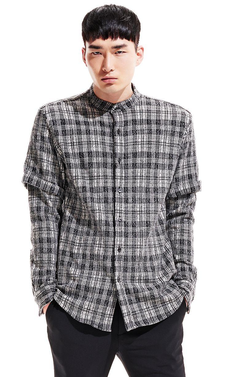 Mandarin collar flannel  Public School Plaid Flannel Button Up Size S   Grailed  tops