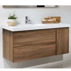 Mueble de Baño LINE COMPLET Nogal  Two horizontal and one vertical pull drawer? And it floats? Yes please