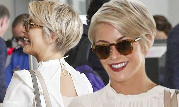 Loving these cute pixie cuts! Julianne Hough shows off her new pixie cut at LAX