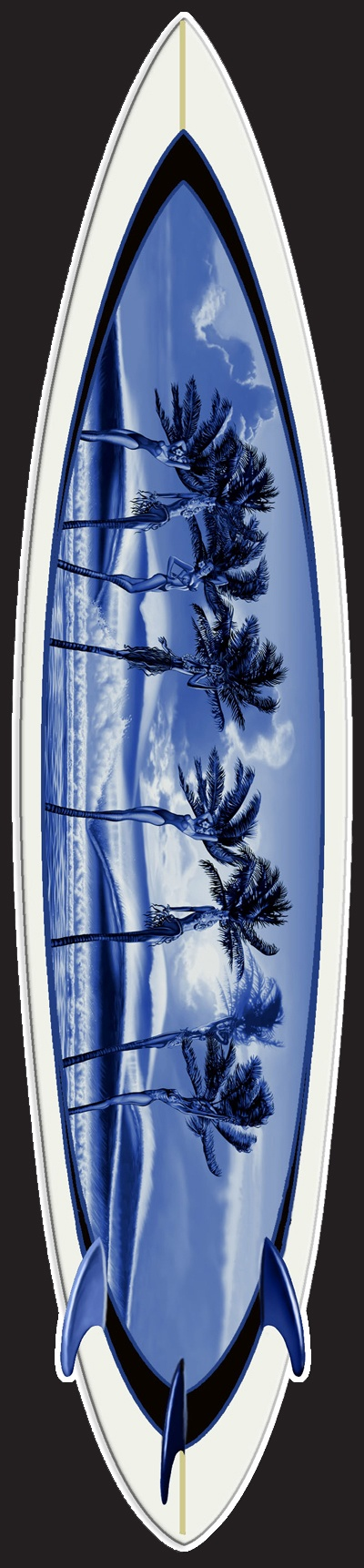 "Fantasy Palms by Rick Rietveld. Giclee Limited Edition Foam Surfboard, Imaged on Rice Paper Embedded into the Resin. Includes Patented Hanging System. 90"" x 19"" for $2,795.00. Free Shipping! #surfart"