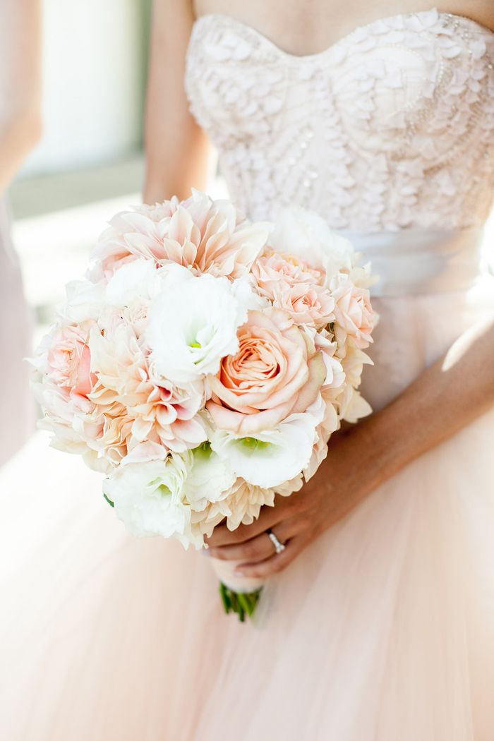 romantic blush bouquet featuring roses, dahlias and lisianthius by Emily Dreblow of Soulflower SF
