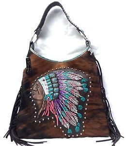 Raviani Western Leather Handbag Fringe Purse Hand Painted Indian Chief Native 7