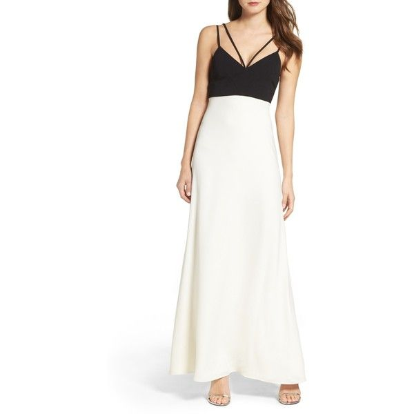 Jill Stuart Strappy Gown ($120) ❤ liked on Polyvore featuring dresses and gowns