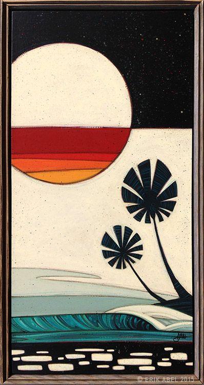 """Sunset Moonrise"" © Erik Abel 2015  13.5x25.5  Acrylic, marker, colored pencil on wood. Frame: Reclaimed Wood"