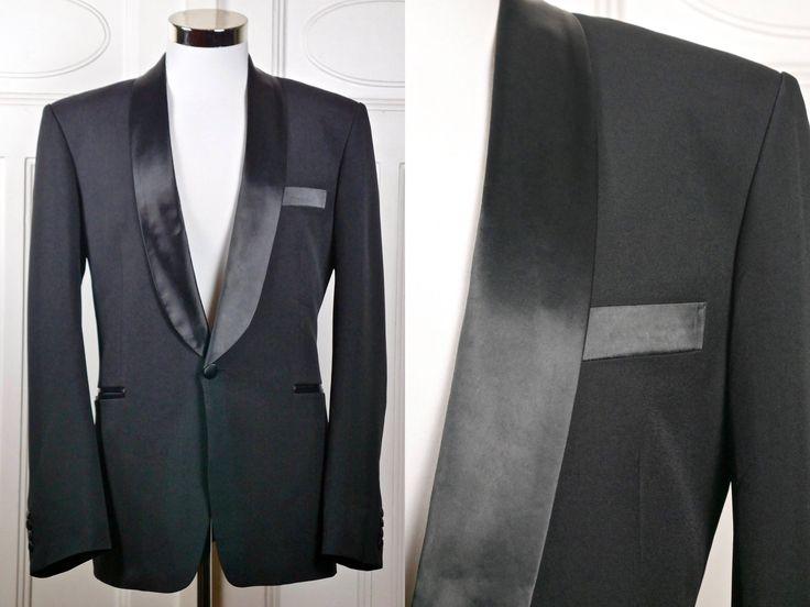 Vintage Armani 1990s Tuxedo Jacket, Giorgio Armani Black European Dinner Jacket w Silk Shawl Lapels, Smoking Tux Blazer: Large, 40 US/UK http://etsy.me/2ACrExs #clothing #men #jacket #black #newyears #l #italianvintage #vintagestyle