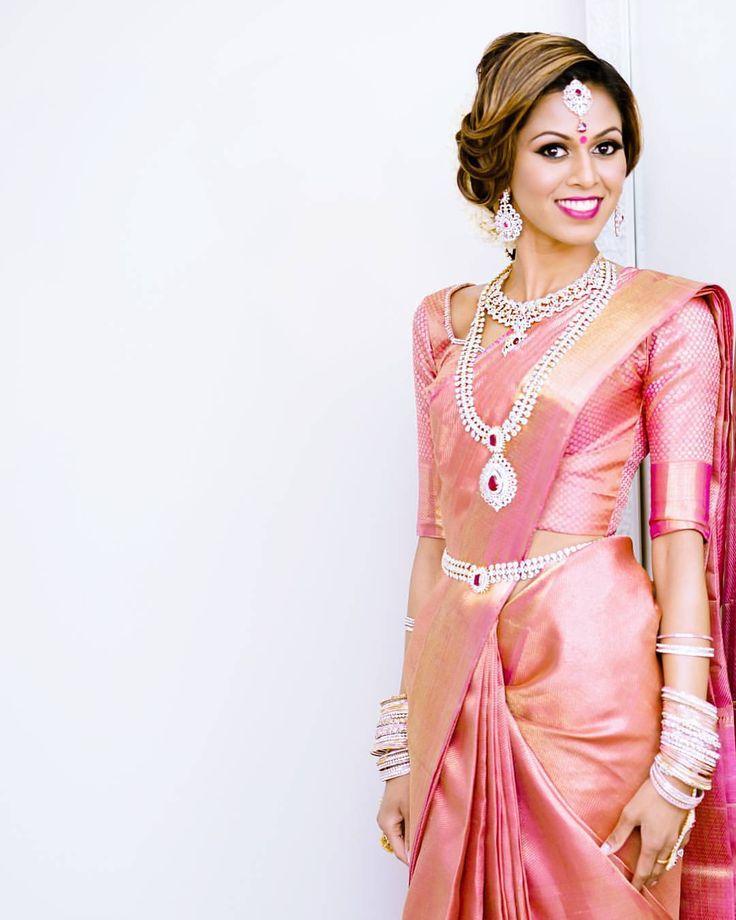 South Indian bride. Diamond Indian bridal jewelry.Temple jewelry. Jhumkis. Pink silk kanchipuram sari. Braid with fresh jasmine flowers. Tamil bride. Telugu bride. Kannada bride. Hindu bride. Malayalee bride.Kerala bride.South Indian wedding. Pinterest: @deepa8 @tiabhuva on Instagram.