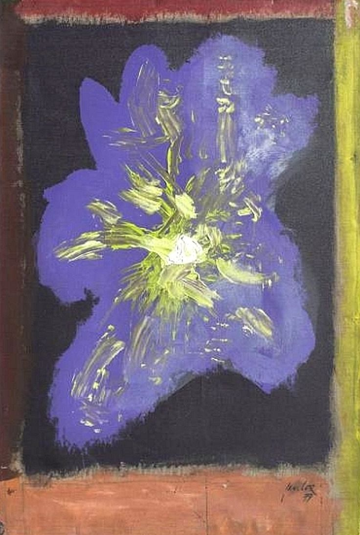 Jan Cox (Belgium1919-1980), Fleur, 1979, – Cox uses frequently vegetal motifs where floral forms dissolve in large abstract zones. Dominant green and blue tones are characteristic for the vegetal works of the seventies (Musical Plants, 1977, Fleur, 1979) – Cornette de Saint Cyr, Brussels, Nov. 19, 2017 lot 187. #jancox #postmodernism #paintforum #thecolectorslist #artauction