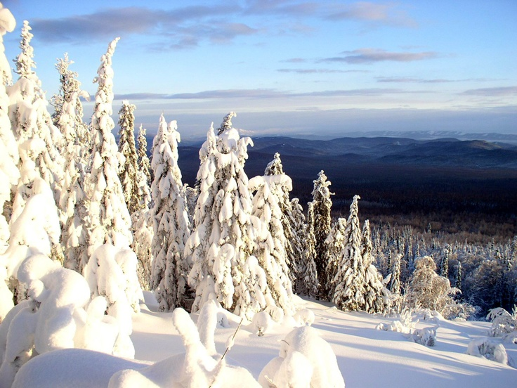 Winter in the Ural mountains (Russia)