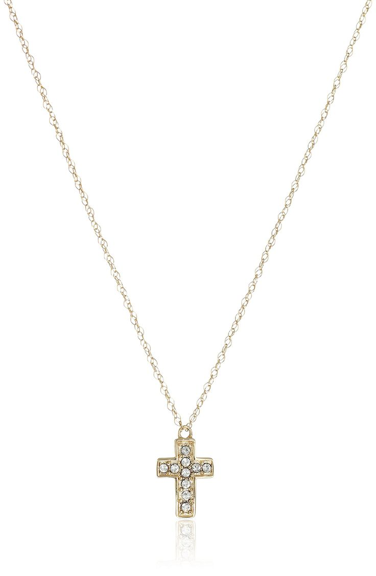 "10k Yellow Gold Swarovski Crystal Cross Necklace, 17"". Hand-polished pure 10k yellow gold; Italian gold chain."