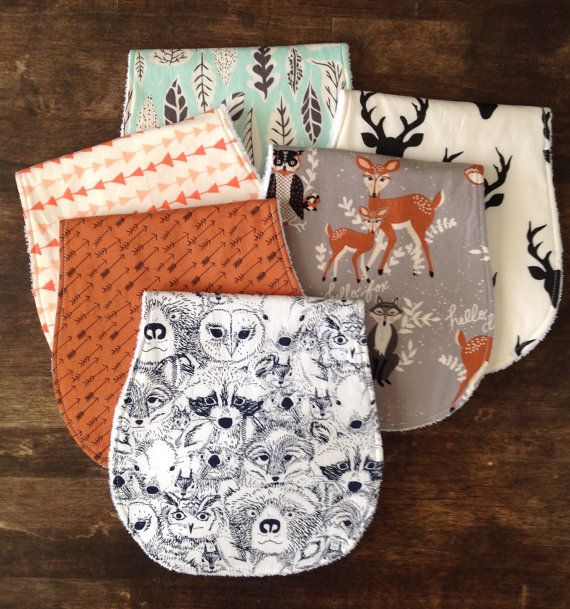 Baby Burp Cloths-Boy-Burp Cloth-Deer Head Burp Cloth-Baby Shower Gift-Burp Cloth-Burp Cloth Girl-Woodland Burp Cloth-Arrow Burp Cloths  This modern contoured burp cloth set is perfect for even the messiest of babies. Shaped and sized to fit on your shoulder and not fall off. These burp rags have been mom tested and approved.  You have a choice of which burp cloths you would like and the quantity. Include your fabric choice in the notes to seller when purchasing.  Natalie 1. burp cloth in…