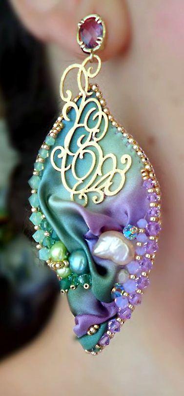 ~~Beaded and shibori silk earrings   Serena Di Mercione Jewelry~~