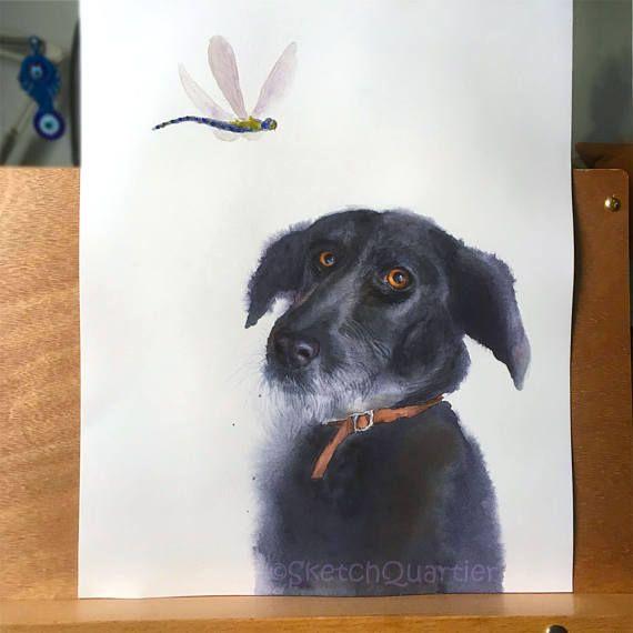 Custom Hand painted watercolour wet on wet pet portrait.