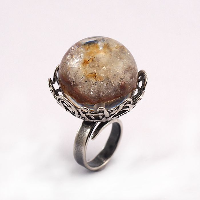 Silver ring with resin and stone design by Sylwia Calus and Julia Tusz