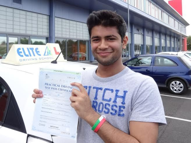 Well done Sid Sharma on your FIRST time pass with only 2 driver faults on the 3rd of September 2014.  Sid studied on a Route 66 Course, taking the 20 hours option after an initial 3 hours assessment and training.  Sid's hard work has paid off with his successful pass, just in time to go off to university (If he can get his car back from his father).  Good luck at Uni and I'll see you for Pass plus from Driving Instructor Alan Hardy and the Team at Elite Driving School.