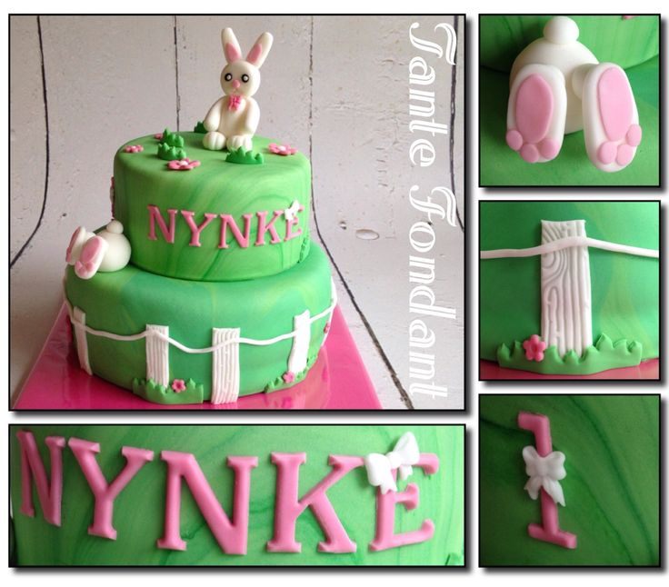 Bright colors for a sweet bunny cake