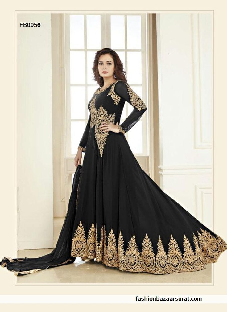 buy Diya Mirza Brilliant Black Chiffon Anarkali Salwar Suit online, buy Salwar Kameez online,  Salwar Kameez online shopping