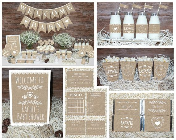Delightful Rustic Baby Shower Decorations Printable, Gender Neutral Baby Shower  Decorations, Neutral Baby Shower Decors, Burlap Baby Shower Decorations