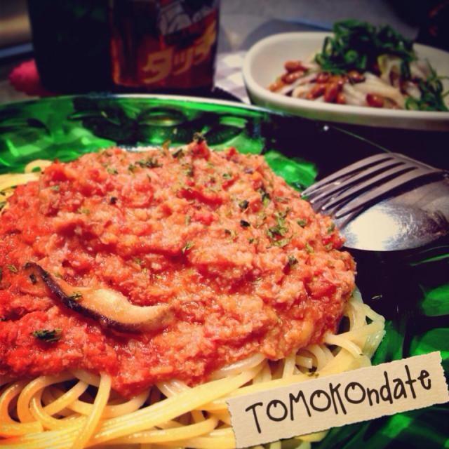 サラダは納豆と大根のねばトロサラダ♡ 生クリームなんて常備されてないので、牛乳でね(ʘʖ̮ʘ)☝︎♬ - 293件のもぐもぐ - 蟹缶で♬蟹クリームトマトパスタ✨ by tomokondate